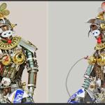 se trata del proyecto figuras humanas y animales hechas de materiales reciclados como desechos electrnicos equipos de audio