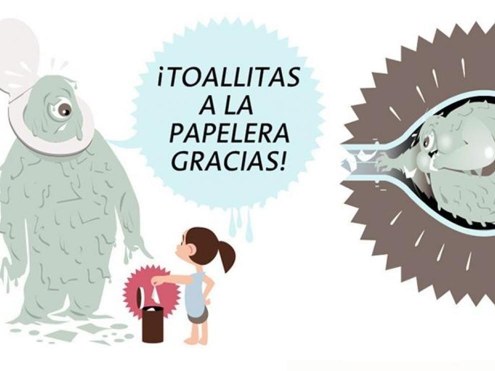 El vertido de toallitas por el inodoro cuesta a Zaragoza 150.000 euros al año